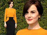 Downton Abbey star  Michelle Dockery is stunning and sophisticated in gold and black dress at Hollywood luncheon