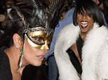 Having a (masked) ball! Kris Jenner and Kelly Rowland are swarmed by fans as they arrive at Tina Knowles' festive 60th birthday bash in New Orleans