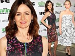Emily Mortimer displays her edge in a dark floral dress with lovely in lace Julie Delpy at Film Independent Spirit Awards Nominees Brunch