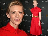 Cate Blanchett glows in belted red dress and contrasting blue heels at the BAFTA LA Tea Party in Beverly Hills