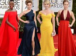Bright and beautiful! Amy Adams, Amber Heard, Lupita Nyong'o and Melissa Raunch sport eye catching colourful gowns at Golden Globes