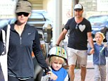 Calm before the storm: Naomi Watts took her son Sam to the Farmers Market in Brentwood, California on Sunday - before prepping for the Golden Globes