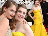 'I ate a thick patty of meat before I came': Lena Dunham embraces her fuller figure in tight yellow gown as she joins Girls co-stars at Golden Globes
