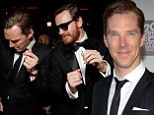 Getting their groove on: Benedict Cumberbatch and Michael Fassbender were in the mood to party after the Golden Globes