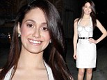 White hot: Emmy Rossum donned a fitted white frock as she left a taping of Jimmy Kimmel Live in Hollywood on Wednesday