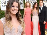 Hollywood family: Kyra Sedgwick, Sosie Bacon, center, and Kevin Bacon arrived on Sunday at the Golden Globe Awards in Los Angeles where Sosie served as Miss Golden Globe