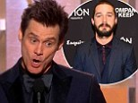 Witty rebuke: Jim Carrey took a dig at actor Shia LaBeouf and his plagiarism scandal on Sunday during the Golden Globes Awards