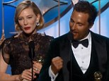 'Thank you to my agent for plying me with vodka!': says Cate Blanchett as she accepts her Best Actress Golden Globe while Matthew McConaughey wins Best Actor