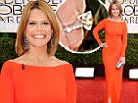 Today host Savannah Guthrie displays stunning engagement ring as she dazzles in full-length orange dress at Golden Globes