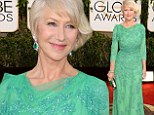 A dream in green: Queen of the red carpet Helen Mirren looks gorgeous in age appropriate teal sparkling lace dress at the Golden Globes