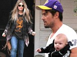 Daddy's little dude! Josh Duhamel dresses  son Axl in mini Converse and a trendy sweater for a family outing with Fergie