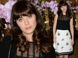 No hangover here! Zooey Deschanel looks perky and pretty in black and white floral dress at TCAs... after night partying at  Golden Globes