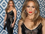 Jennifer Lopez dons a leather and lace LBD and fiery red lipstick at TCA party