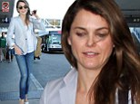 Preppy chic: Keri Russell looked stylish as she left Los Angeles International Airport in California on Monday
