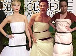 Mocked! Jennifer Lawrence's puffy white dress gets slammed on Twitter by haters who re-create look with comforters and black ribbon