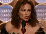 Cringe: Jacqueline Bissett won the award for the most excruciating acceptance speech at the Golden Globes in LA on Sunday