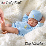 """Tiny Miracles Lullaby Goodnight Posable Realistic Sleeping Baby Boy Doll With Blue Outfit - First-ever 10"""" Musical Miniature Baby Boy Doll Plays """"Brahms Lullaby""""! Exclusive Posable Sleeping Doll with Blue Outfit!"""
