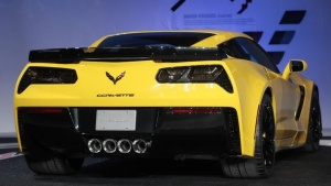 Rear view of the new Chevrolet Corvette Stingray ZO6 as it is unveiled during the press preview day of the North American International Auto Show in Detroit, Michigan on January 13, 2014.  REUTERS/Rebecca Cook