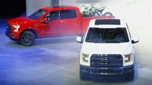 A pair of new Ford F-150 pickup trucks are unveiled during the press preview day of the North American International Auto Show in Detroit, Michigan on January 13, 2014. REUTERS/Joshua Lott