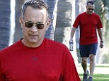 Tom Hanks does his work out in Santa Monica