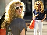 Going retro on Rodeo: Amy Willerton goes for an '80s-inspired ensemble as she shops in Beverly Hills