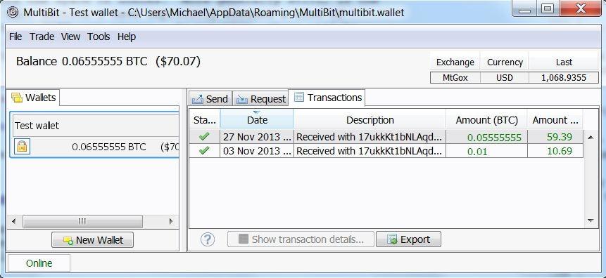 Tak wygląda portfel - program MultiBit