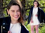 Style queen! Game of Thrones star Emilia Clarke rules in leather motorcycle jacket and big chunky heels