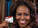 The First Lady showed that she was happy to get her membership card for the AARP, a seniors advocacy group that includes all Americans over 50