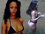 Island goddess Rihanna poses for bikini selfies... before changing into a VERY revealing G-string monokini in Brazil