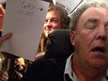 Serial offender: Jeremy Clarkson insults the homosexual community by tweeting a picture of himself asleep with a sign saying 'gay c**t' and an arrow pointing at himself