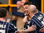 Opener: Ryan Fredericks (centre) celebrates with his team-mates after scoring to make it 1-0 against Ipswich