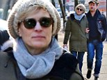Love is in the air: Robin Wright was seen out with her new fiancé, 33-year-old Ben Foster, on a romantic stroll through the chilling streets of Vancouver on Sunday