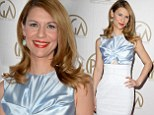 Pale blue beauty! Claire Danes is a leading light at the Producers Guild Awards in sophisticated pastel top and skirt