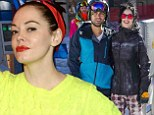 Just posing? Rose McGowan cuddles up to a snowboard for indoor event... as stars hit the slopes at Sundance Film Festival