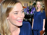 The big cover up! Emily Blunt hides her baby bump in oversize satin pajamas as she attends champagne brunch honouring men