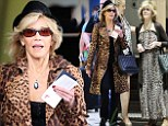 Jane Fonda  can't get enough of leopard print wearing patterned trench and long dress in Sydney