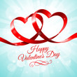 Red ribbon with two hearts intertwined