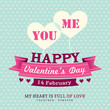 Valentines Day Invitation card design template ribbon with heart