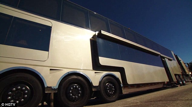 Added width: The trailer expands to allow Will and his entourage more room to relax