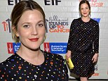 Glowing and glamorous! Pregnant Drew Barrymore dresses baby bump in clinging and colourful spotty dress at charity bash