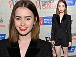 Goth glam: Lily Collins shows off her pale skin in lacy black jumper to attend Hollywood Stands Up To Cancer Event in Culver City, California on Tuesday