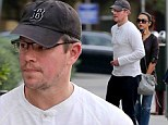 Almost the perfect gentleman! Matt Damon treats his wife to dinner... but leaves her to feed the parking meter
