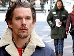 Ethan Hawke arrives on New York set of Ten Thousand Saints in his pyjamas before changing into an all denim ensemble