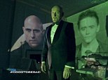Bad guys: Brit actors Sir Ben Kingsley, Mark Strong and Tom Hiddleston star in the new James Bond style Jaguar commercial set to air at the halftime show during this years Super Bowl