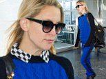 Did you get dressed in the dark Kate? Hudson steps out in VERY bizarre matchy blue sweater, trousers and slip-on shoes