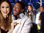 'Backstage getting Nick Cannon ready!' Stacy Keibler gives her co-host the pampering treatment ahead of Super Bowl Blitz concert