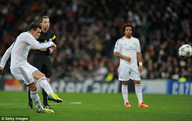 Curler: Bale scored a free kick against Galatasaray as Real Madrid cemented their place at the top of Group B