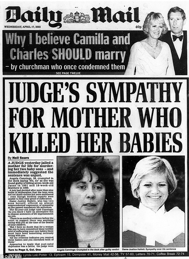 Daily Mail's page 1 on Wednesday April 17, 2002, dictating the judge ruling Angela Cannings guilty. The Cannings case gained national and international exposure, and was one of the cases that made cot death national knowledge