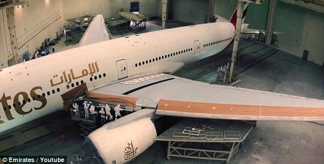 Huge: A timelapse video shows how Emirates workers in a hangar in Dubai repaint the airline's planes