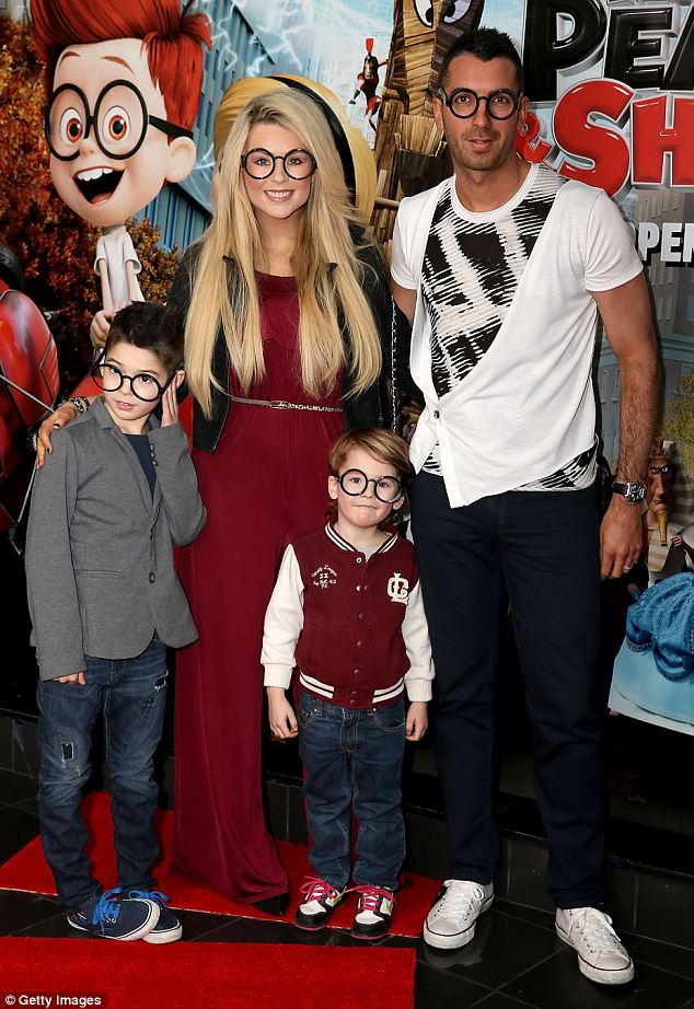 Getting into character: Nicola McLean, Tom Williams and their two children  attend the VIP Gala screening
